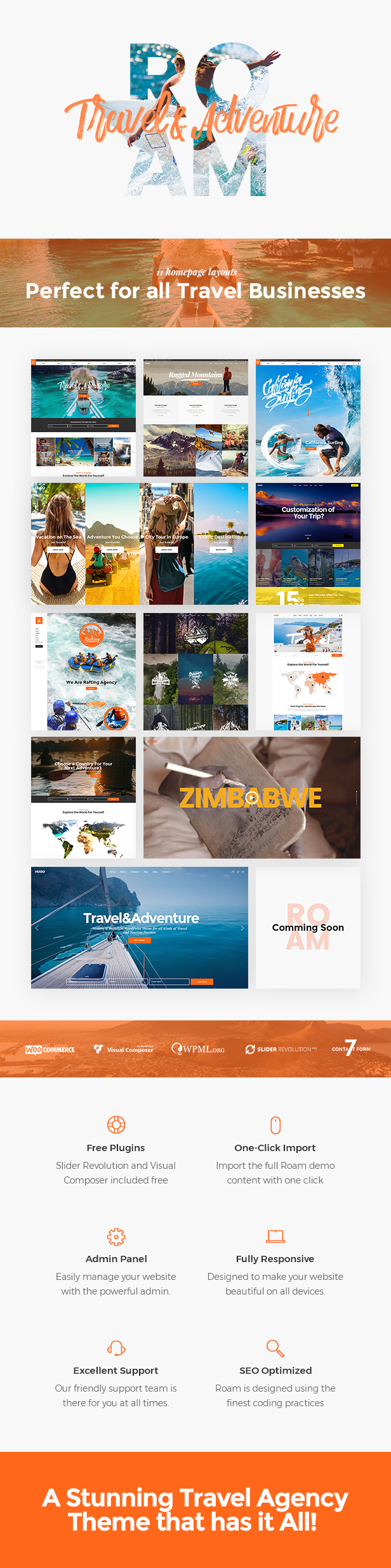 Roam - An Adventurous Travel and Tourism Theme
